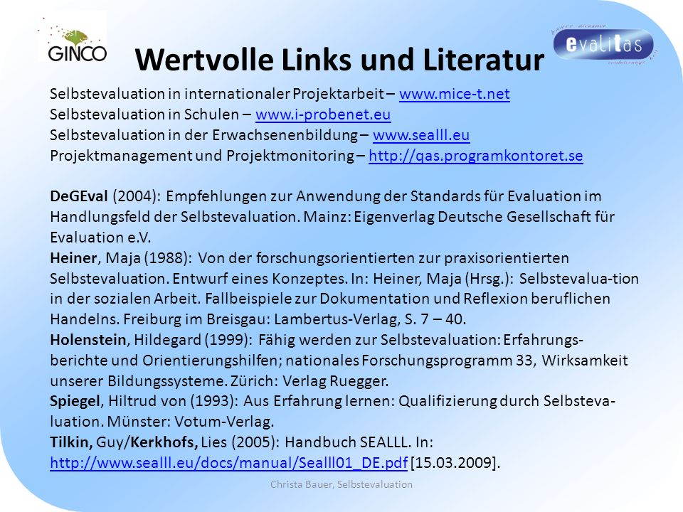 Wertvolle Links und Literatur Christa Bauer, Selbstevaluation Selbstevaluation in internationaler Projektarbeit – www.mice-t.netwww.mice-t.net Selbste