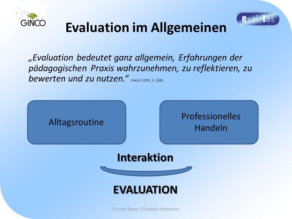 Evaluation im Allgemeinen Evaluation bedeutet ganz allgemein, Erfahrungen der pädagogischen Praxis wahrzunehmen, zu reflektieren, zu bewerten und zu n