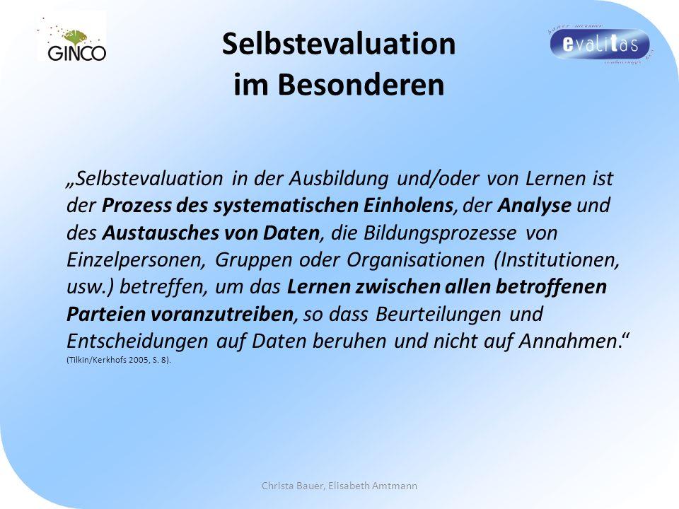 Selbstevaluation im Besonderen Selbstevaluation in der Ausbildung und/oder von Lernen ist der Prozess des systematischen Einholens, der Analyse und de