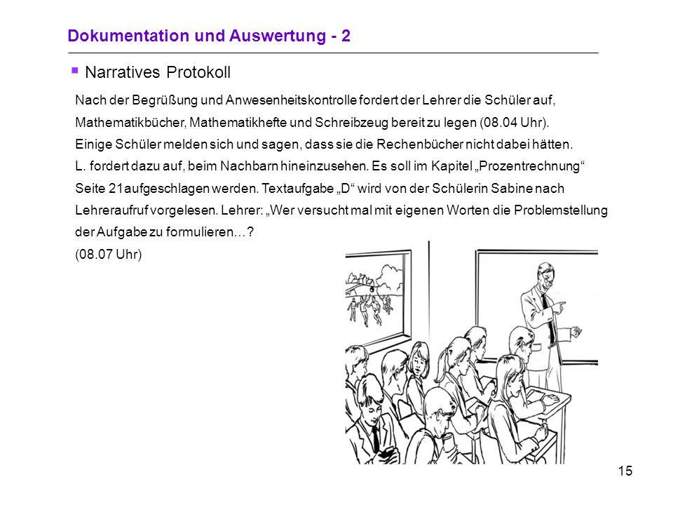14 Dokumentation und Auswertung - 1 Strichlisten Zeitleistekeine Meldung Aufruf des Lehrers MeldungAufruf des Lehrers Aufruf des Lehrers Summe 1.- 5.