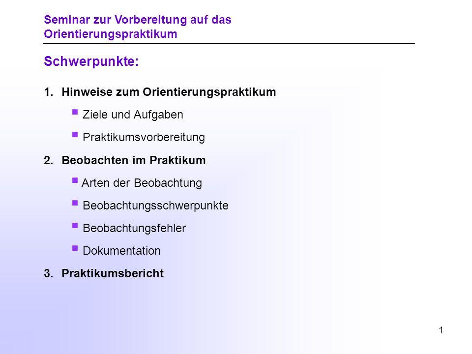 0 Seminar zur Vorbereitung auf das Orientierungspraktikum Universität Rostock Traditio et Innovatio Philosophische Fakultät Institut für Schulpädagogi