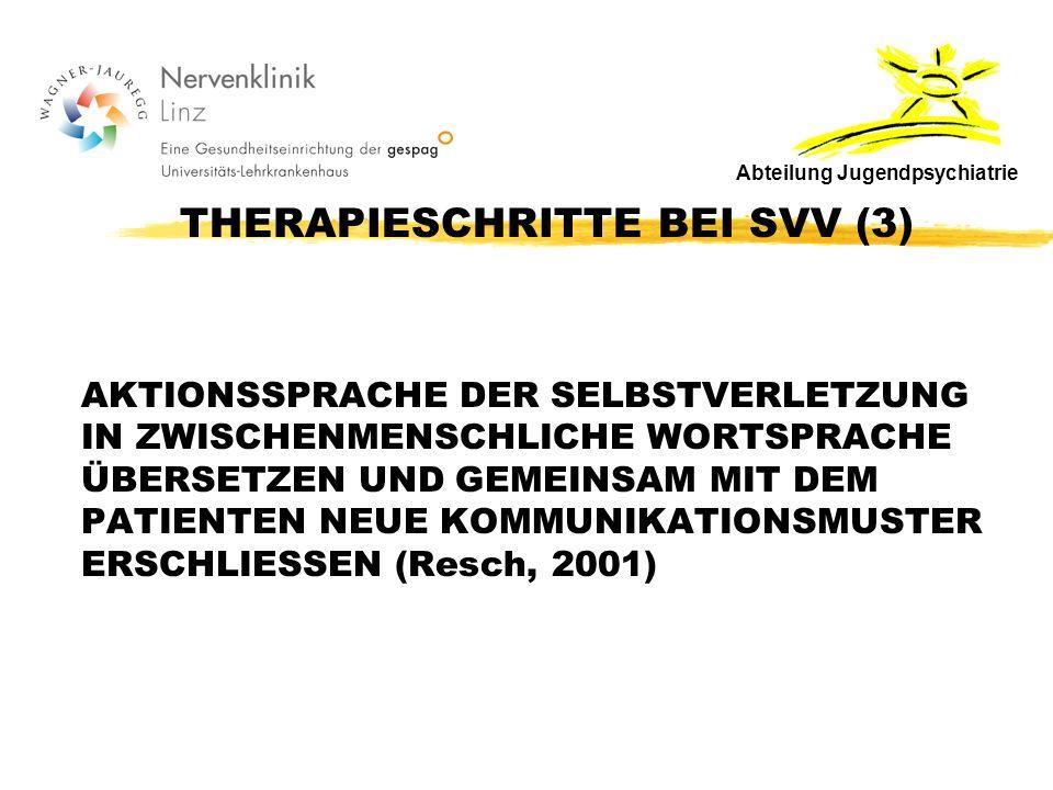 THERAPIESCHRITTE BEI SVV (3) AKTIONSSPRACHE DER SELBSTVERLETZUNG IN ZWISCHENMENSCHLICHE WORTSPRACHE ÜBERSETZEN UND GEMEINSAM MIT DEM PATIENTEN NEUE KOMMUNIKATIONSMUSTER ERSCHLIESSEN (Resch, 2001) Abteilung Jugendpsychiatrie
