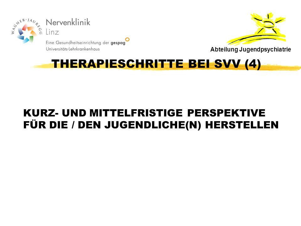 THERAPIESCHRITTE BEI SVV (4) KURZ- UND MITTELFRISTIGE PERSPEKTIVE FÜR DIE / DEN JUGENDLICHE(N) HERSTELLEN Abteilung Jugendpsychiatrie