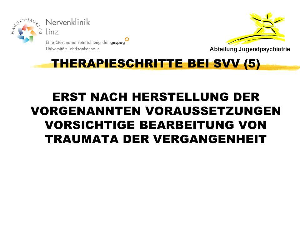 THERAPIESCHRITTE BEI SVV (5) ERST NACH HERSTELLUNG DER VORGENANNTEN VORAUSSETZUNGEN VORSICHTIGE BEARBEITUNG VON TRAUMATA DER VERGANGENHEIT Abteilung Jugendpsychiatrie