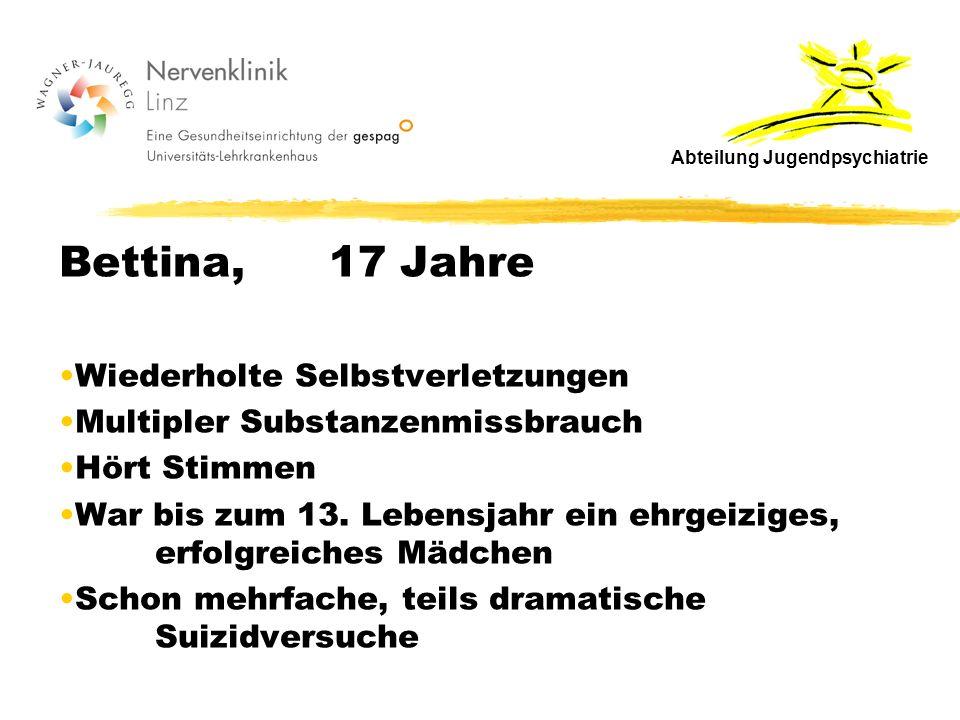 Bettina, 17 Jahre Wiederholte Selbstverletzungen Multipler Substanzenmissbrauch Hört Stimmen War bis zum 13.