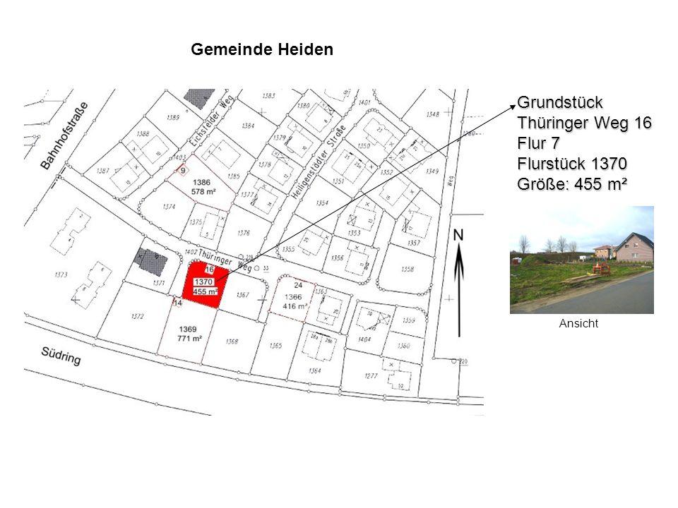Grundstück Thüringer Weg 16 Flur 7 Flurstück 1370 Größe: 455 m² Ansicht