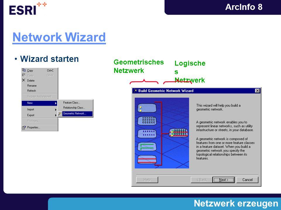 ArcInfo 8 Netzwerk erzeugen Network Wizard Geometrisches Netzwerk Wizard starten Logische s Netzwerk