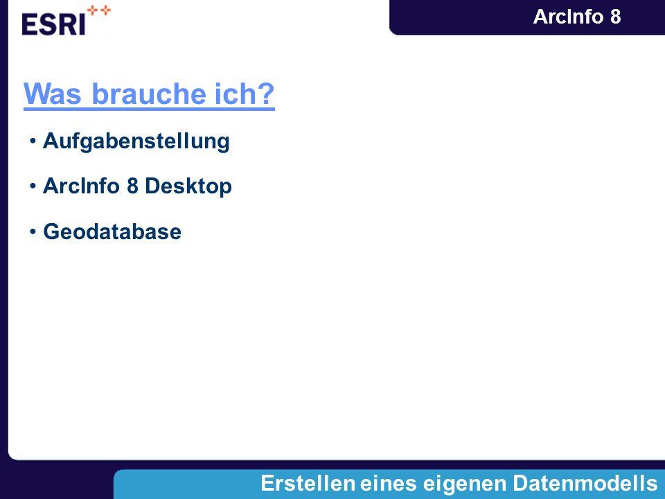 ArcInfo 8 Erstellen eines eigenen Datenmodells Was brauche ich? Aufgabenstellung ArcInfo 8 Desktop Geodatabase