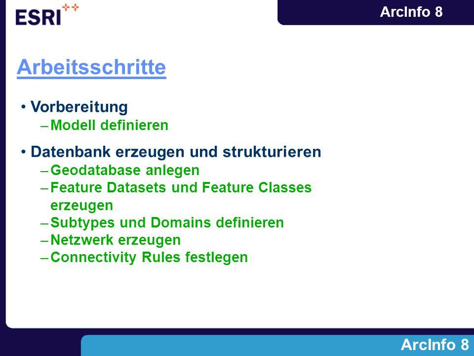 ArcInfo 8 Arbeitsschritte ArcInfo 8 Vorbereitung –Modell definieren Datenbank erzeugen und strukturieren –Geodatabase anlegen –Feature Datasets und Fe