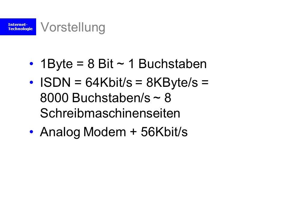 Internet- Technologie Vorstellung 1Byte = 8 Bit ~ 1 Buchstaben ISDN = 64Kbit/s = 8KByte/s = 8000 Buchstaben/s ~ 8 Schreibmaschinenseiten Analog Modem
