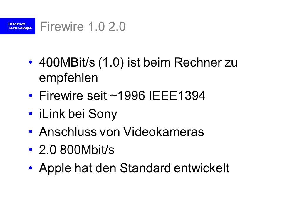 Internet- Technologie Firewire 1.0 2.0 400MBit/s (1.0) ist beim Rechner zu empfehlen Firewire seit ~1996 IEEE1394 iLink bei Sony Anschluss von Videoka
