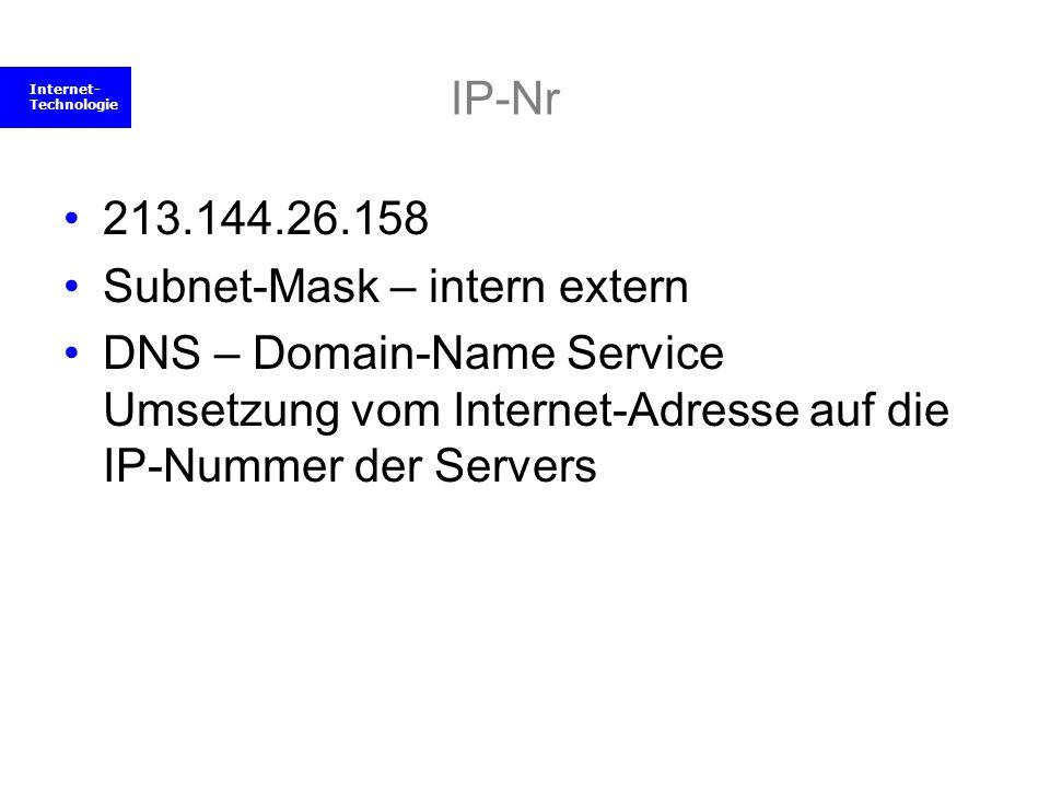 Internet- Technologie IP-Nr 213.144.26.158 Subnet-Mask – intern extern DNS – Domain-Name Service Umsetzung vom Internet-Adresse auf die IP-Nummer der