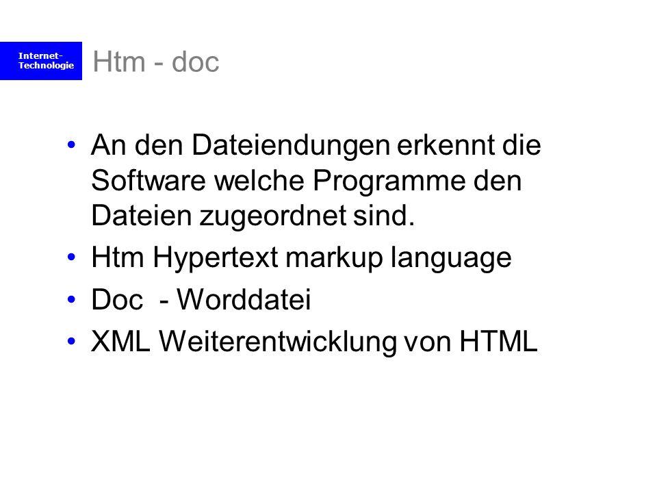 Internet- Technologie Htm - doc An den Dateiendungen erkennt die Software welche Programme den Dateien zugeordnet sind. Htm Hypertext markup language