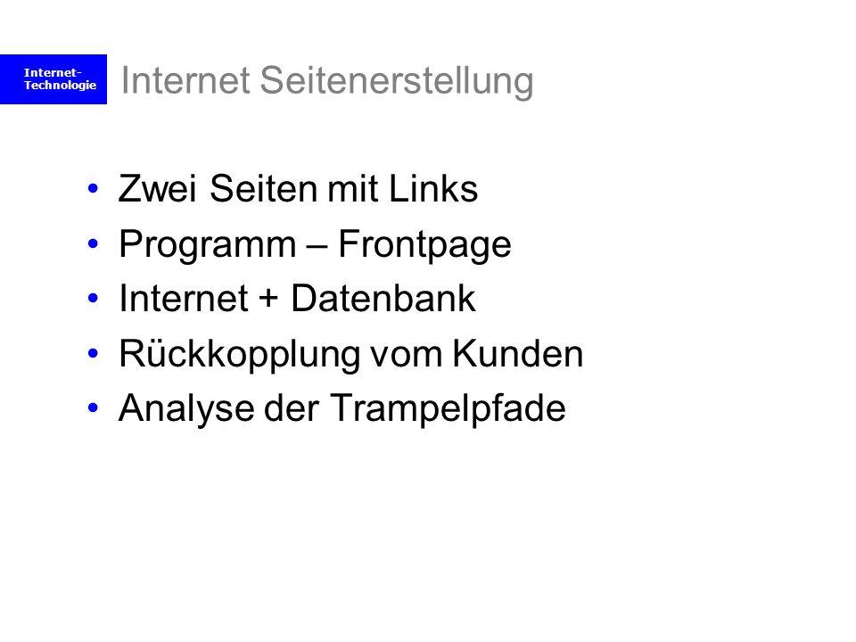 Internet- Technologie Internet Seitenerstellung Zwei Seiten mit Links Programm – Frontpage Internet + Datenbank Rückkopplung vom Kunden Analyse der Tr