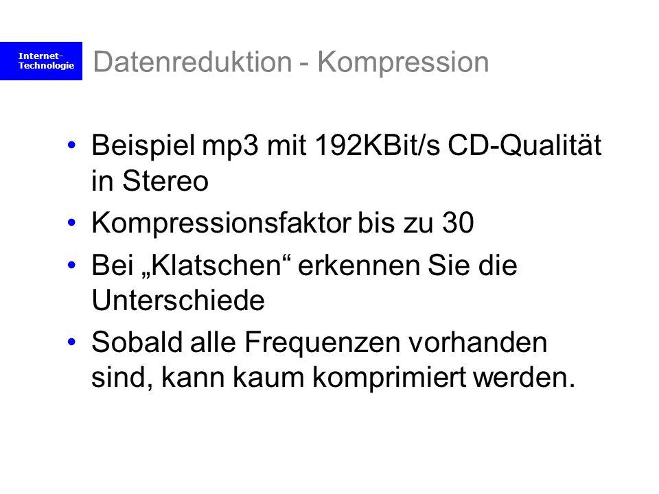 Internet- Technologie Datenreduktion - Kompression Beispiel mp3 mit 192KBit/s CD-Qualität in Stereo Kompressionsfaktor bis zu 30 Bei Klatschen erkenne