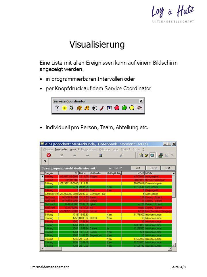 Seite 4/8Störmeldemanagement Eine Liste mit allen Ereignissen kann auf einem Bildschirm angezeigt werden. in programmierbaren Intervallen oder per Kno