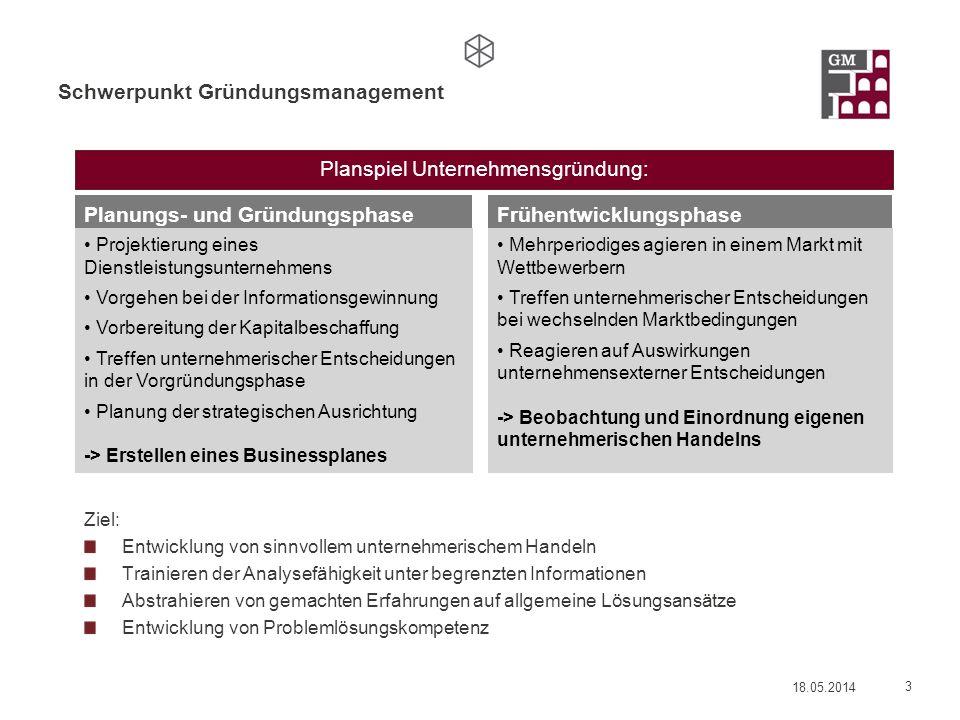 Schwerpunkt Gründungsmanagement Ziel: Entwicklung von sinnvollem unternehmerischem Handeln Trainieren der Analysefähigkeit unter begrenzten Informatio