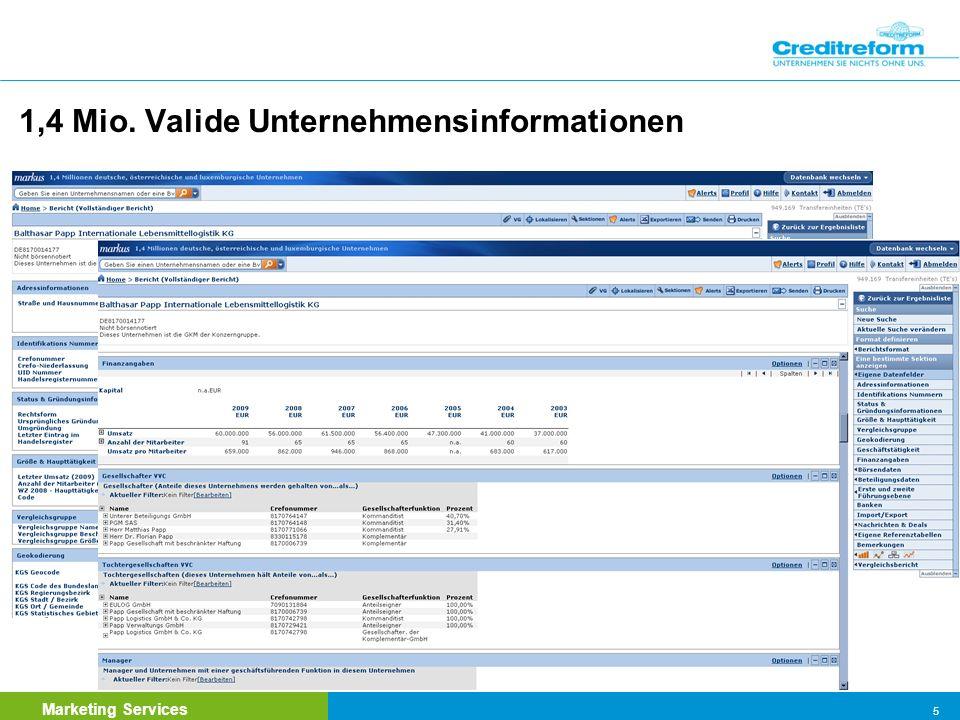 Marketing Services 6 Max. Informationstiefe / Verfügbarkeit historischer Werte