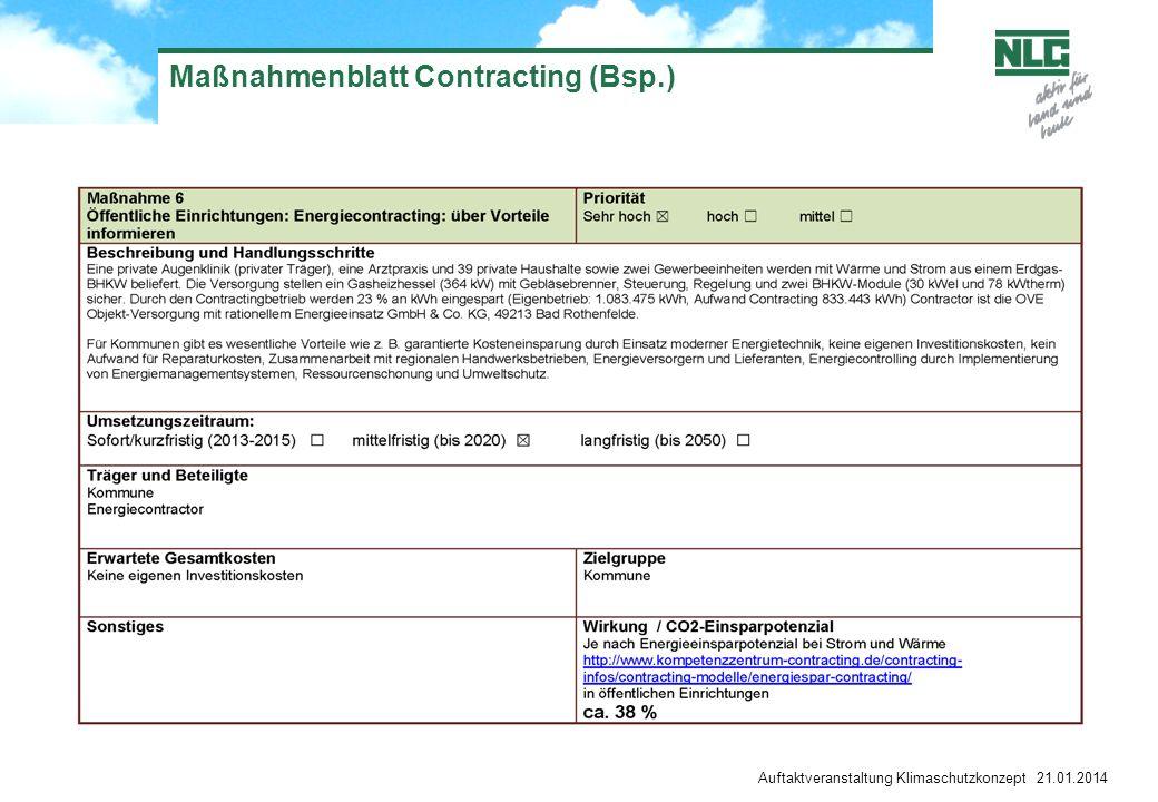 Auftaktveranstaltung Klimaschutzkonzept 21.01.2014 Maßnahmenblatt Contracting (Bsp.)