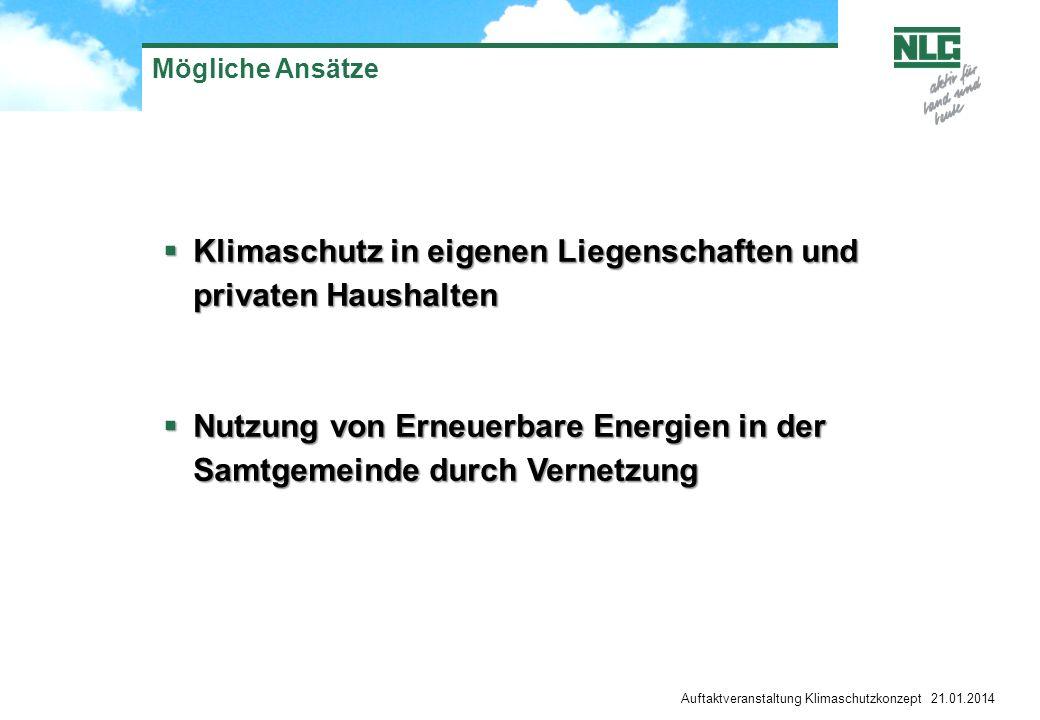 Auftaktveranstaltung Klimaschutzkonzept 21.01.2014 Mögliche Ansätze Klimaschutz in eigenen Liegenschaften und privaten Haushalten Klimaschutz in eigen