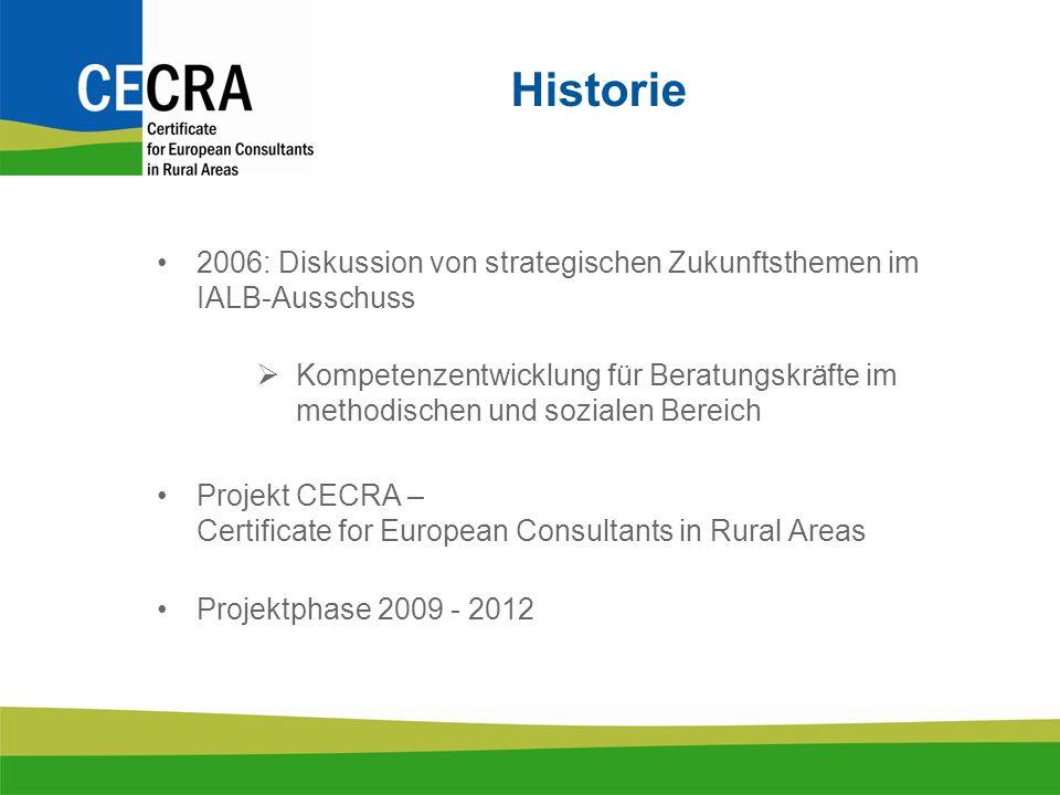 Historie 2006: Diskussion von strategischen Zukunftsthemen im IALB-Ausschuss Kompetenzentwicklung für Beratungskräfte im methodischen und sozialen Bereich Projekt CECRA – Certificate for European Consultants in Rural Areas Projektphase 2009 - 2012