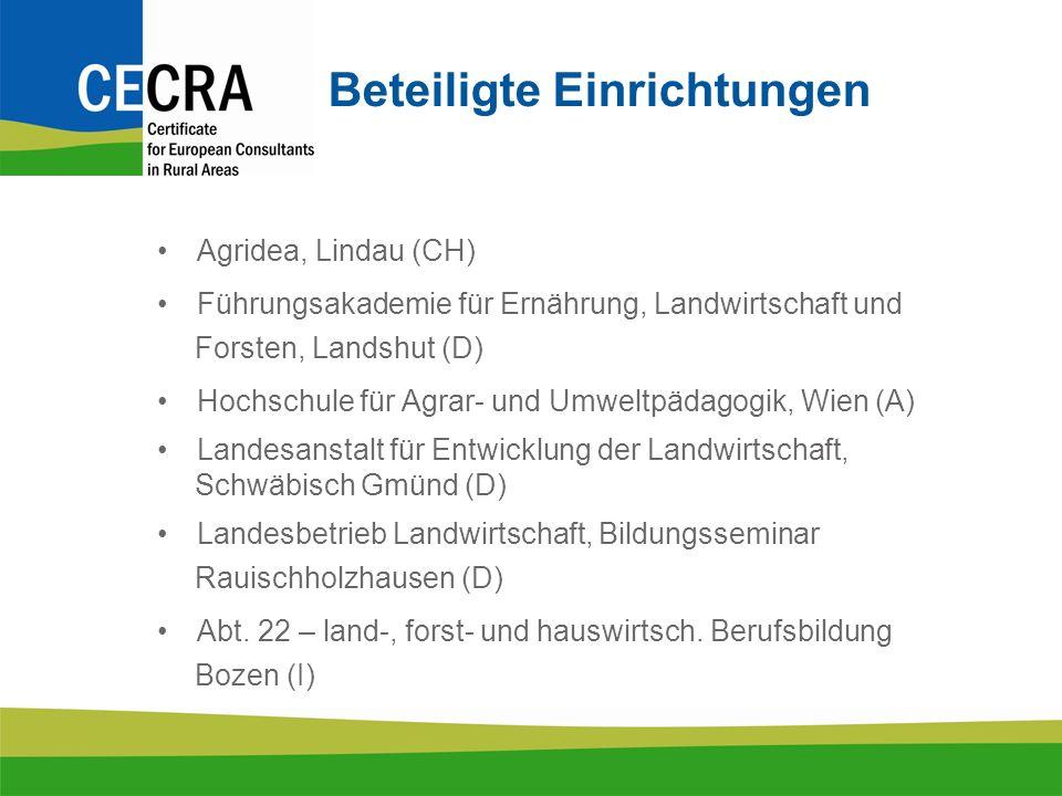 Beteiligte Einrichtungen Agridea, Lindau (CH) Führungsakademie für Ernährung, Landwirtschaft und Forsten, Landshut (D) Hochschule für Agrar- und Umweltpädagogik, Wien (A) Landesanstalt für Entwicklung der Landwirtschaft, Schwäbisch Gmünd (D) Landesbetrieb Landwirtschaft, Bildungsseminar Rauischholzhausen (D) Abt.