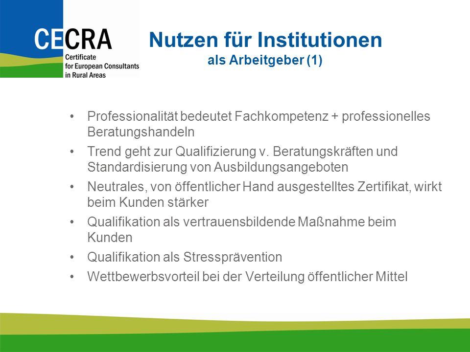 Nutzen für Institutionen als Arbeitgeber (1) Professionalität bedeutet Fachkompetenz + professionelles Beratungshandeln Trend geht zur Qualifizierung v.
