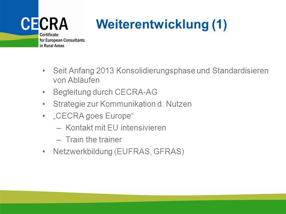 Weiterentwicklung (1) Seit Anfang 2013 Konsolidierungsphase und Standardisieren von Abläufen Begleitung durch CECRA-AG Strategie zur Kommunikation d.