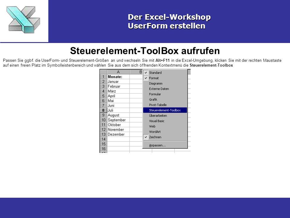 Steuerelement-ToolBox aufrufen Der Excel-Workshop UserForm erstellen Passen Sie ggbf.