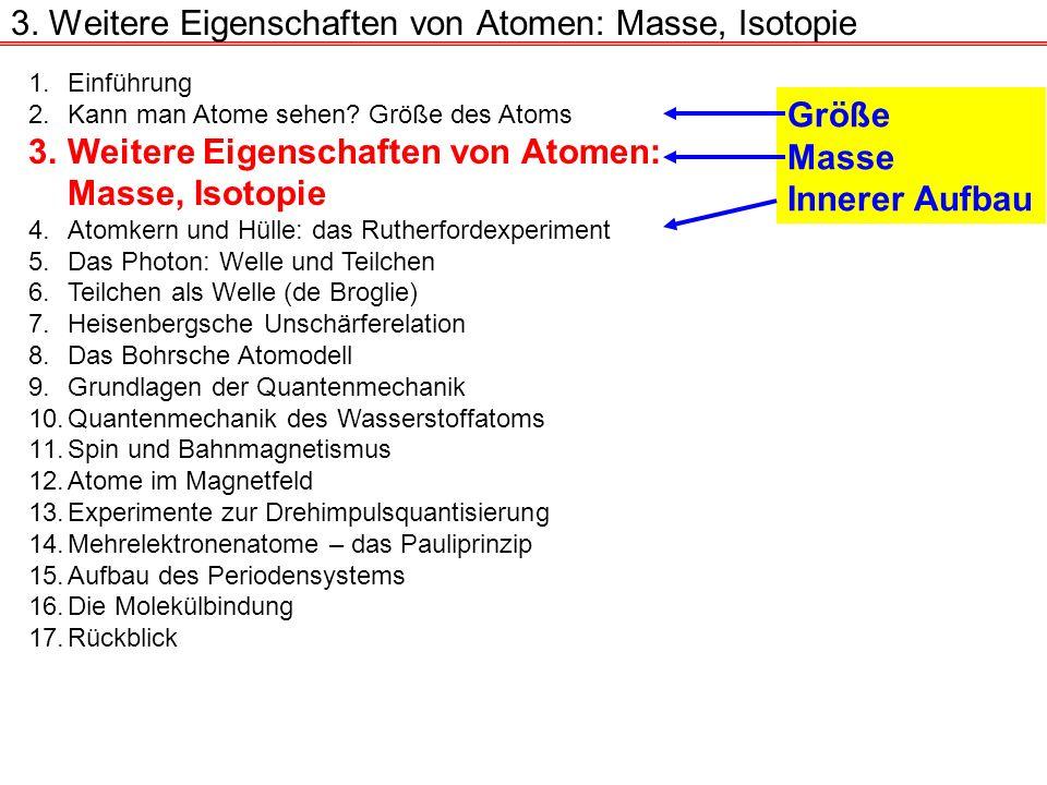 3. Weitere Eigenschaften von Atomen: Masse, Isotopie 1.Einführung 2.Kann man Atome sehen? Größe des Atoms 3.Weitere Eigenschaften von Atomen: Masse, I