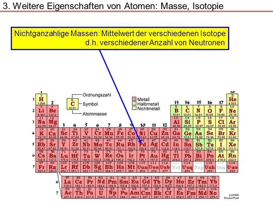 3. Weitere Eigenschaften von Atomen: Masse, Isotopie Nichtganzahlige Massen: Mittelwert der verschiedenen Isotope d.h. verschiedener Anzahl von Neutro