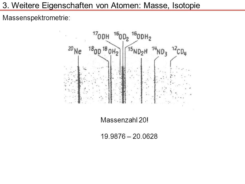 Massenspektrometrie: Massenzahl 20! 19.9876 – 20.0628 3. Weitere Eigenschaften von Atomen: Masse, Isotopie