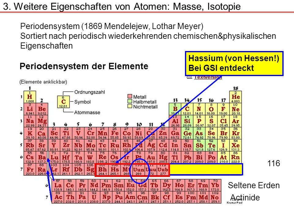 3. Weitere Eigenschaften von Atomen: Masse, Isotopie Periodensystem (1869 Mendelejew, Lothar Meyer) Sortiert nach periodisch wiederkehrenden chemische