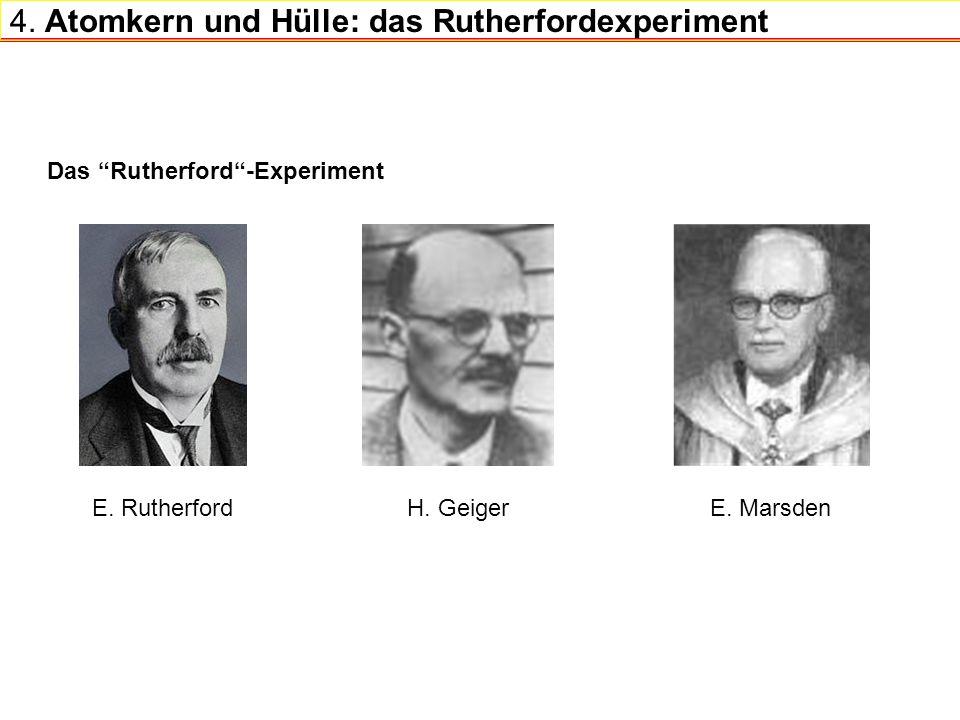 4. Atomkern und Hülle: das Rutherfordexperiment Das Rutherford-Experiment E. Rutherford H. GeigerE. Marsden