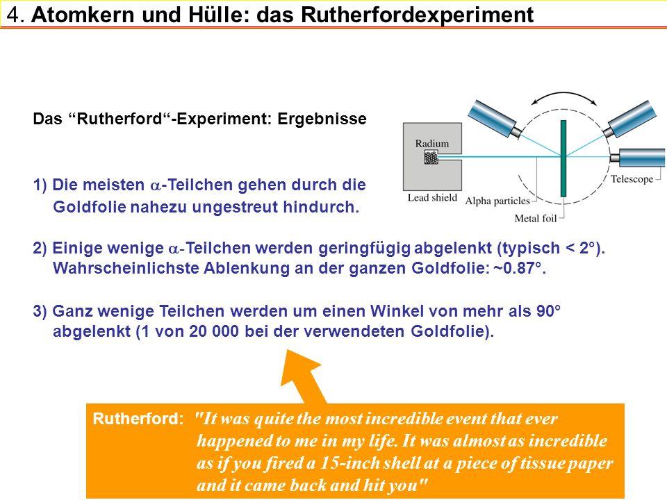4. Atomkern und Hülle: das Rutherfordexperiment 1) Die meisten -Teilchen gehen durch die Goldfolie nahezu ungestreut hindurch. Das Rutherford-Experime