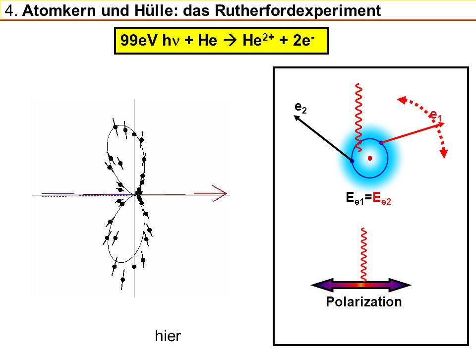 4. Atomkern und Hülle: das Rutherfordexperiment 99eV h + He He 2+ + 2e - e2e2 E e1 =E e2 Polarization e1e1 hier