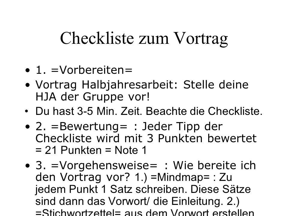 Checkliste zum Vortrag 1.=Vorbereiten= Vortrag Halbjahresarbeit: Stelle deine HJA der Gruppe vor.