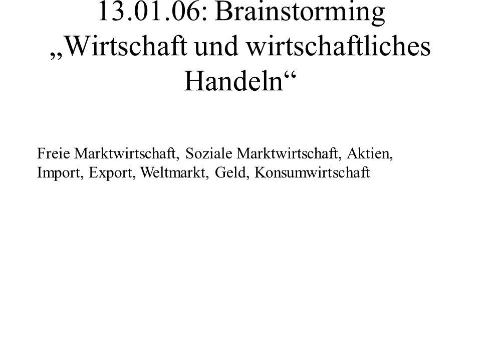 13.01.06: Brainstorming Wirtschaft und wirtschaftliches Handeln Freie Marktwirtschaft, Soziale Marktwirtschaft, Aktien, Import, Export, Weltmarkt, Geld, Konsumwirtschaft