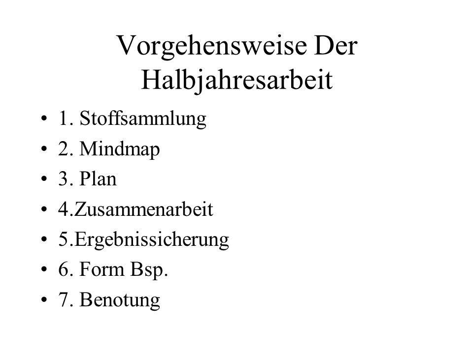 Vorgehensweise Der Halbjahresarbeit 1.Stoffsammlung 2.