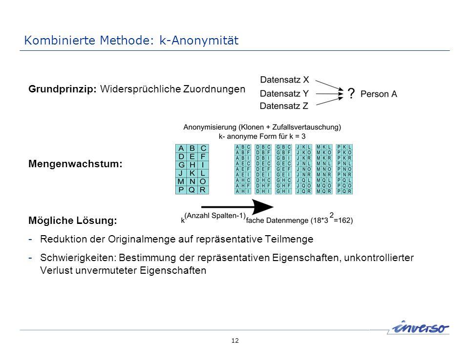 12 Kombinierte Methode: k-Anonymität Grundprinzip: Widersprüchliche Zuordnungen Mengenwachstum: Mögliche Lösung: - Reduktion der Originalmenge auf rep