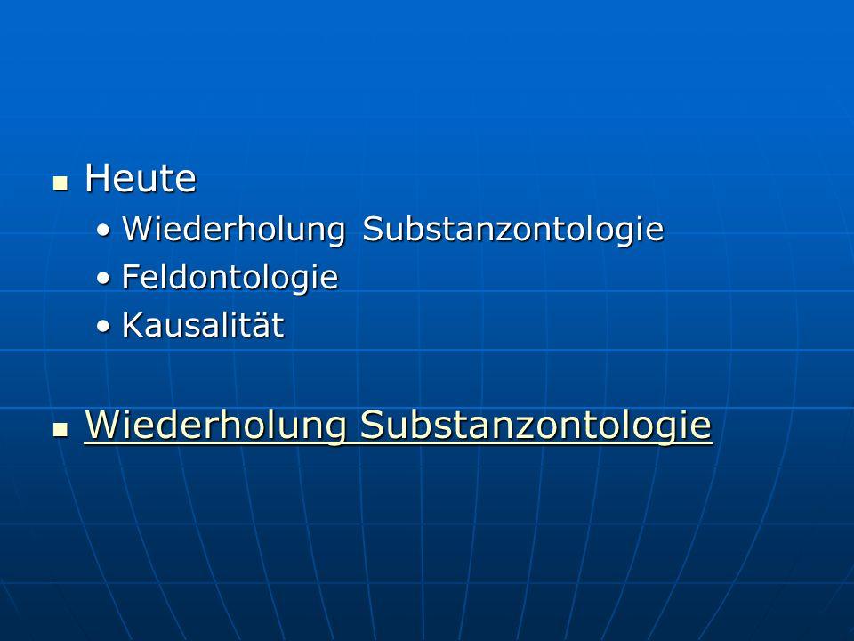 Heute Heute Wiederholung SubstanzontologieWiederholung Substanzontologie FeldontologieFeldontologie KausalitätKausalität Wiederholung Substanzontologi