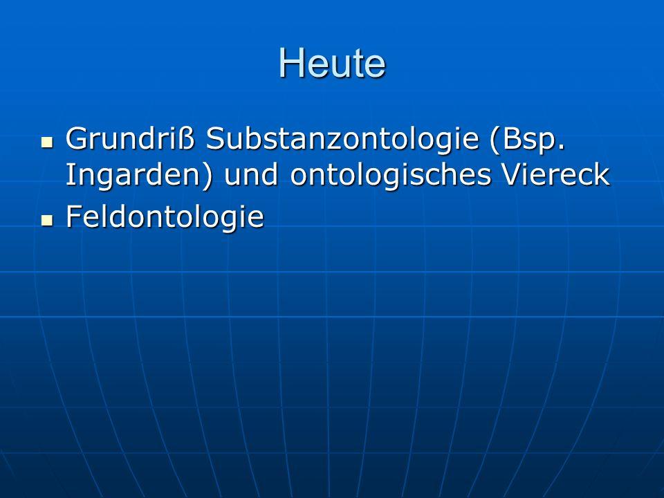 Heute Grundriß Substanzontologie (Bsp. Ingarden) und ontologisches Viereck Grundriß Substanzontologie (Bsp. Ingarden) und ontologisches Viereck Feldon