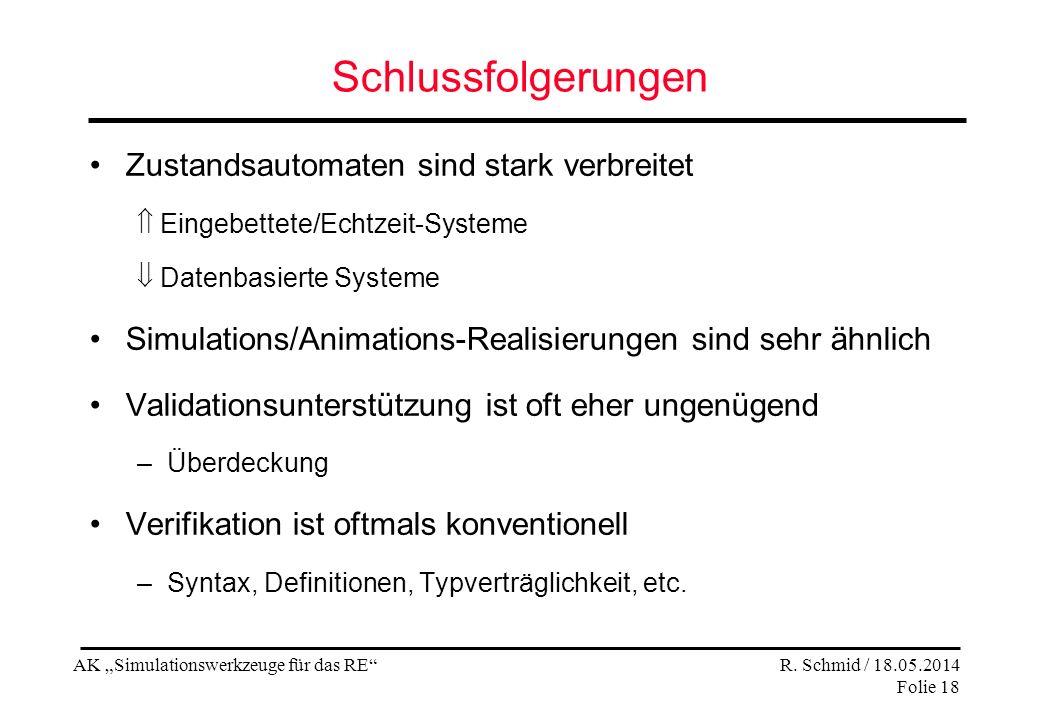 AK Simulationswerkzeuge für das RE R. Schmid / 18.05.2014 Folie 18 Schlussfolgerungen Zustandsautomaten sind stark verbreitet Eingebettete/Echtzeit-Sy