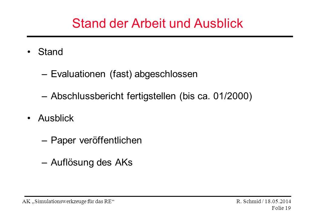 AK Simulationswerkzeuge für das RE R. Schmid / 18.05.2014 Folie 19 Stand der Arbeit und Ausblick Stand –Evaluationen (fast) abgeschlossen –Abschlussbe