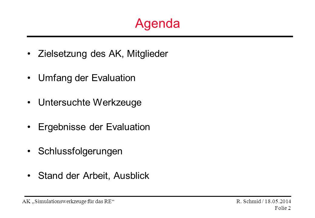AK Simulationswerkzeuge für das RE R. Schmid / 18.05.2014 Folie 2 Agenda Zielsetzung des AK, Mitglieder Umfang der Evaluation Untersuchte Werkzeuge Er