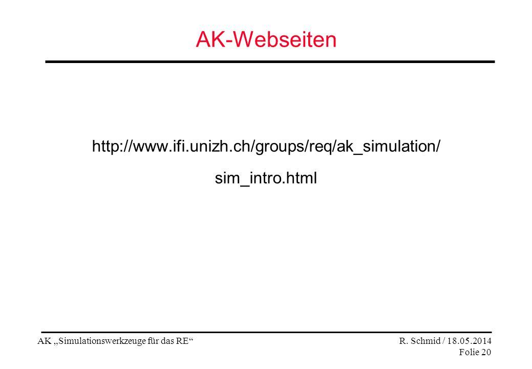 AK Simulationswerkzeuge für das RE R.