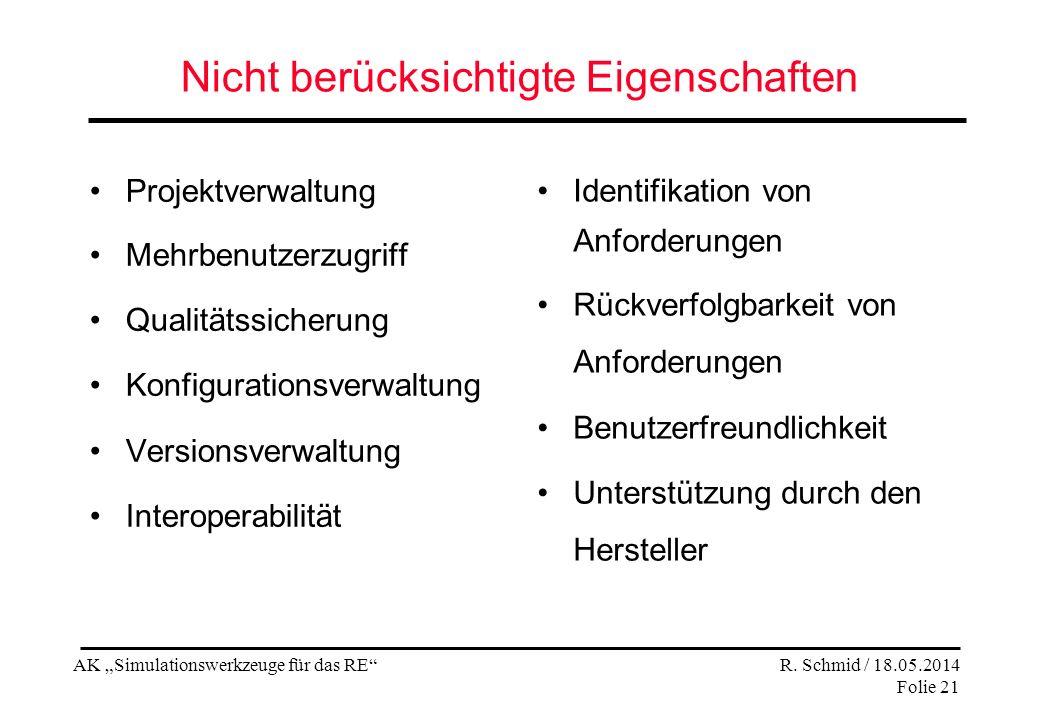 AK Simulationswerkzeuge für das RE R. Schmid / 18.05.2014 Folie 21 Nicht berücksichtigte Eigenschaften Projektverwaltung Mehrbenutzerzugriff Qualitäts