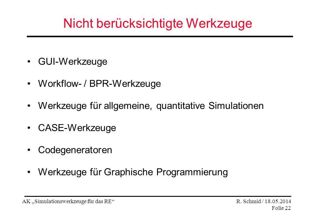 AK Simulationswerkzeuge für das RE R. Schmid / 18.05.2014 Folie 22 Nicht berücksichtigte Werkzeuge GUI-Werkzeuge Workflow- / BPR-Werkzeuge Werkzeuge f