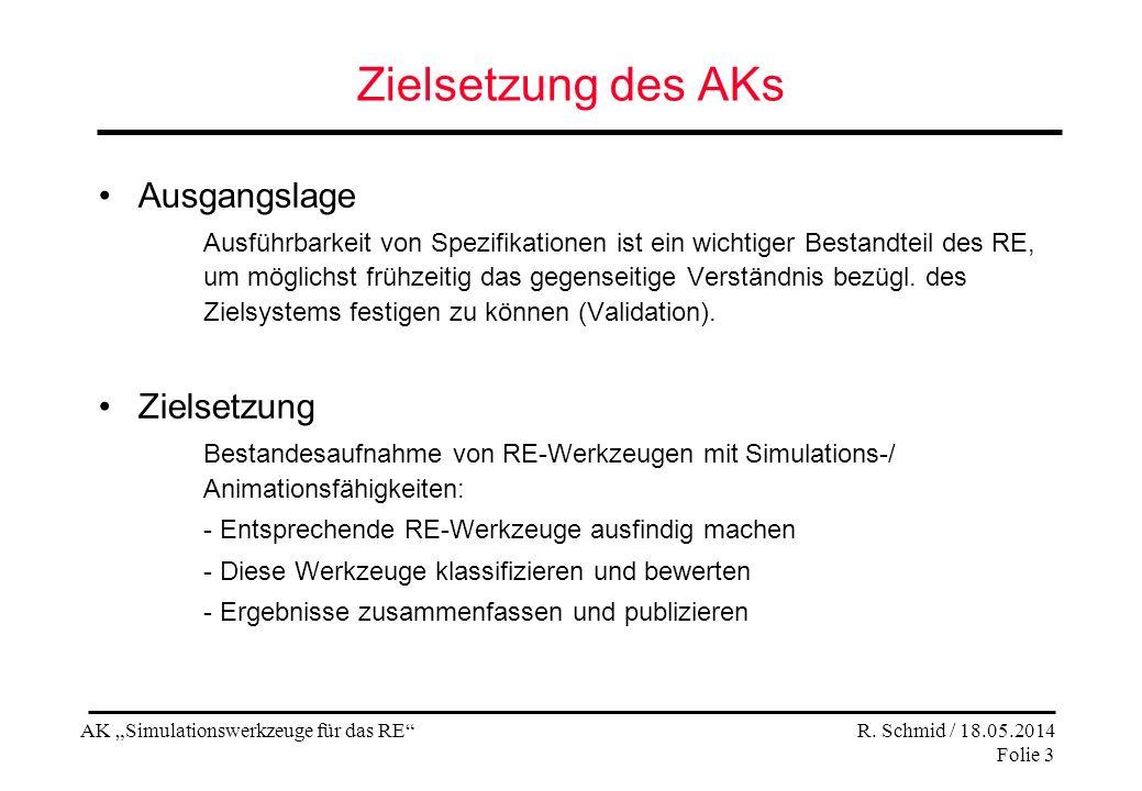 AK Simulationswerkzeuge für das RE R. Schmid / 18.05.2014 Folie 3 Zielsetzung des AKs Ausgangslage Ausführbarkeit von Spezifikationen ist ein wichtige
