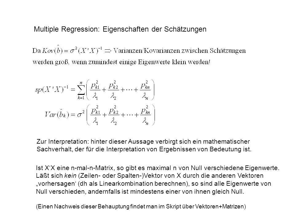 Multiple Regression: Eigenschaften der Schätzungen Zur Interpretation: hinter dieser Aussage verbirgt sich ein mathematischer Sachverhalt, der für die